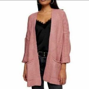 NWT Topshop Mauve Pink Cardigan Sweater Oversized